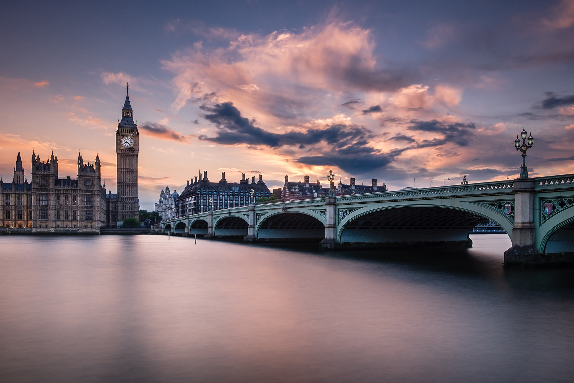 Cityscape long exposure photo at sunset of Big Ben and the Houses of Parliament, London by Trevor Sherwin