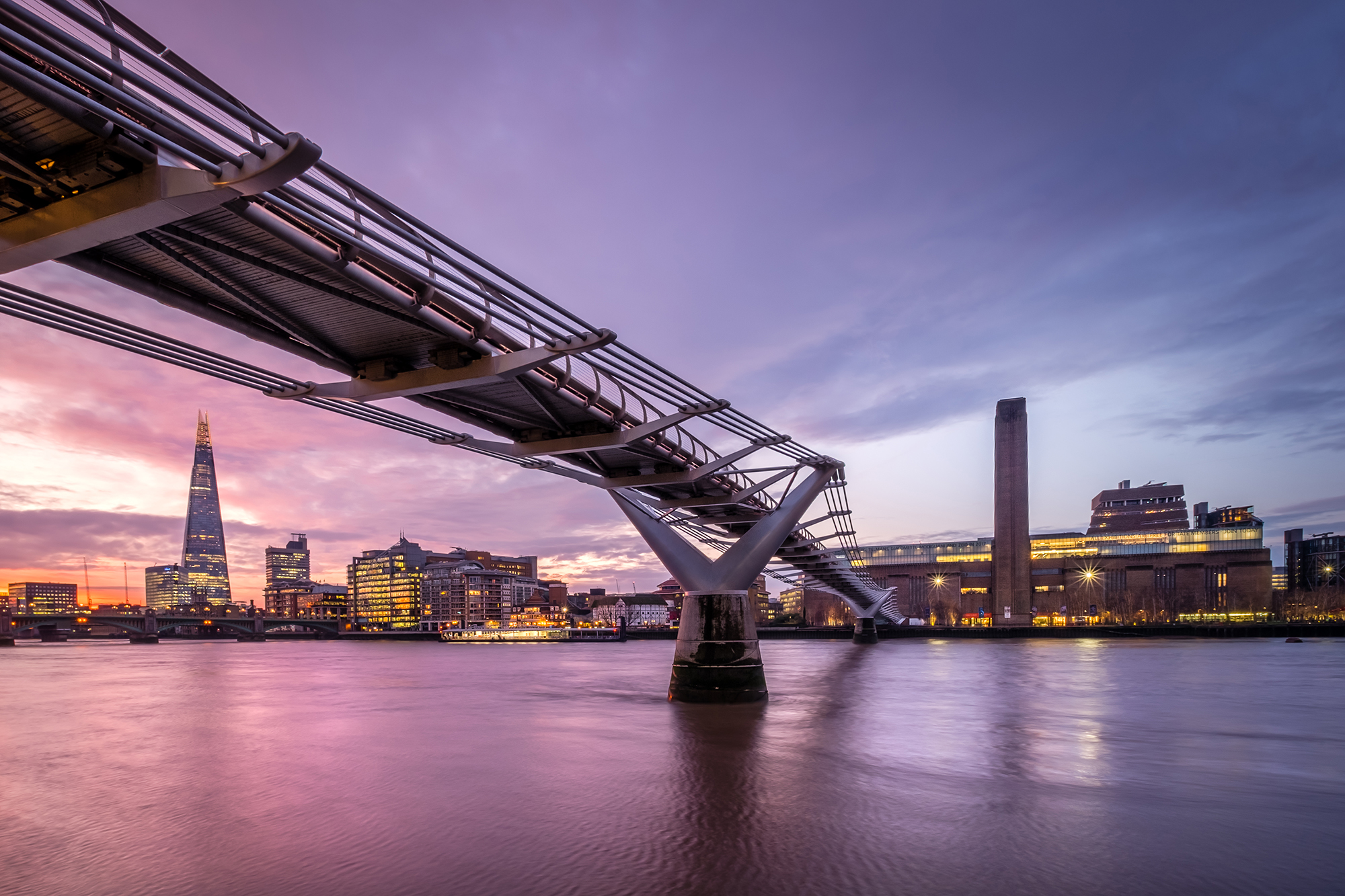 Cityscape photo of the Millennium Bridge, Tate Modern and The Shard, London by Trevor Sherwin