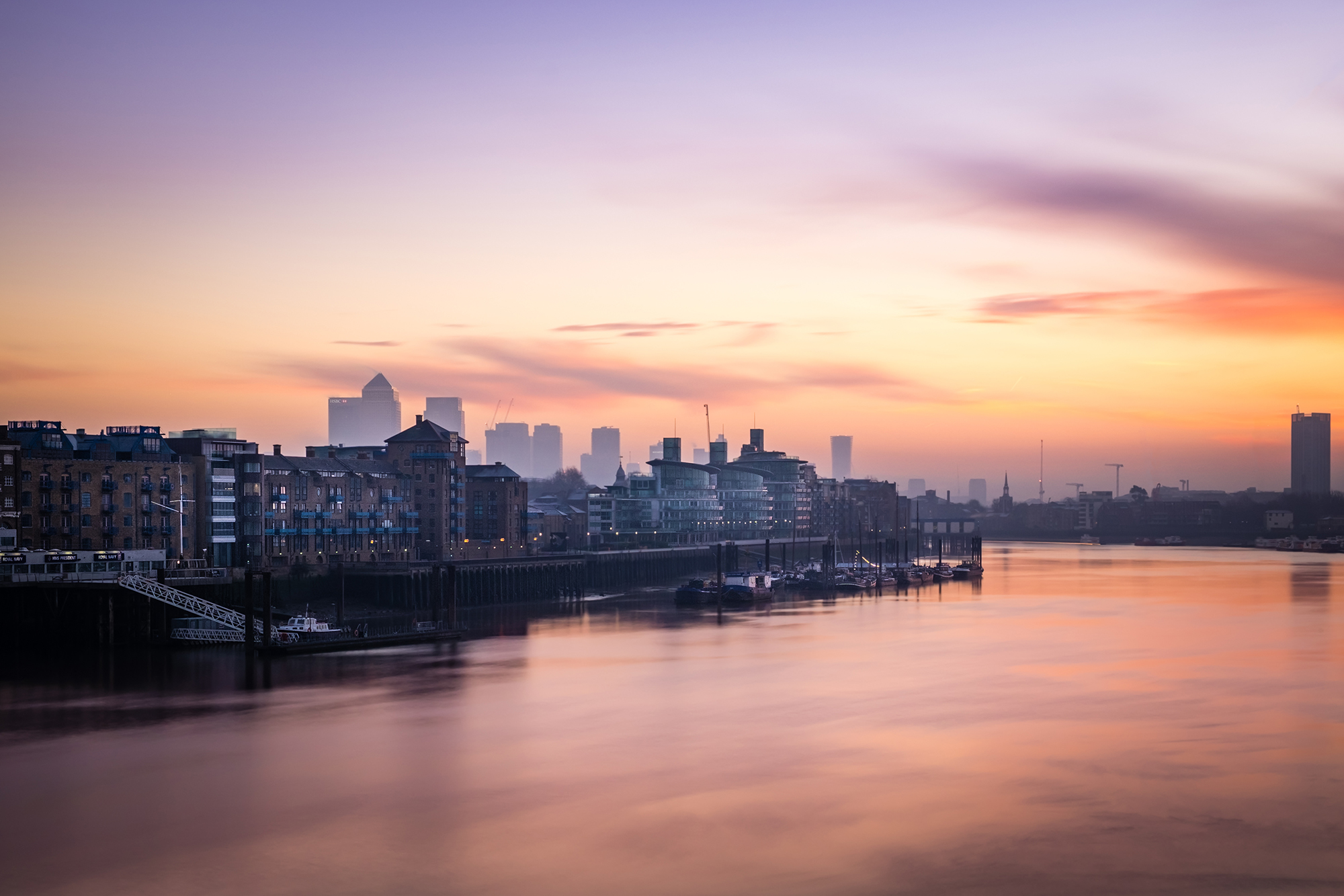 Cityscape long exposure photo of the view across East London towards Canary Wharf by Trevor Sherwin