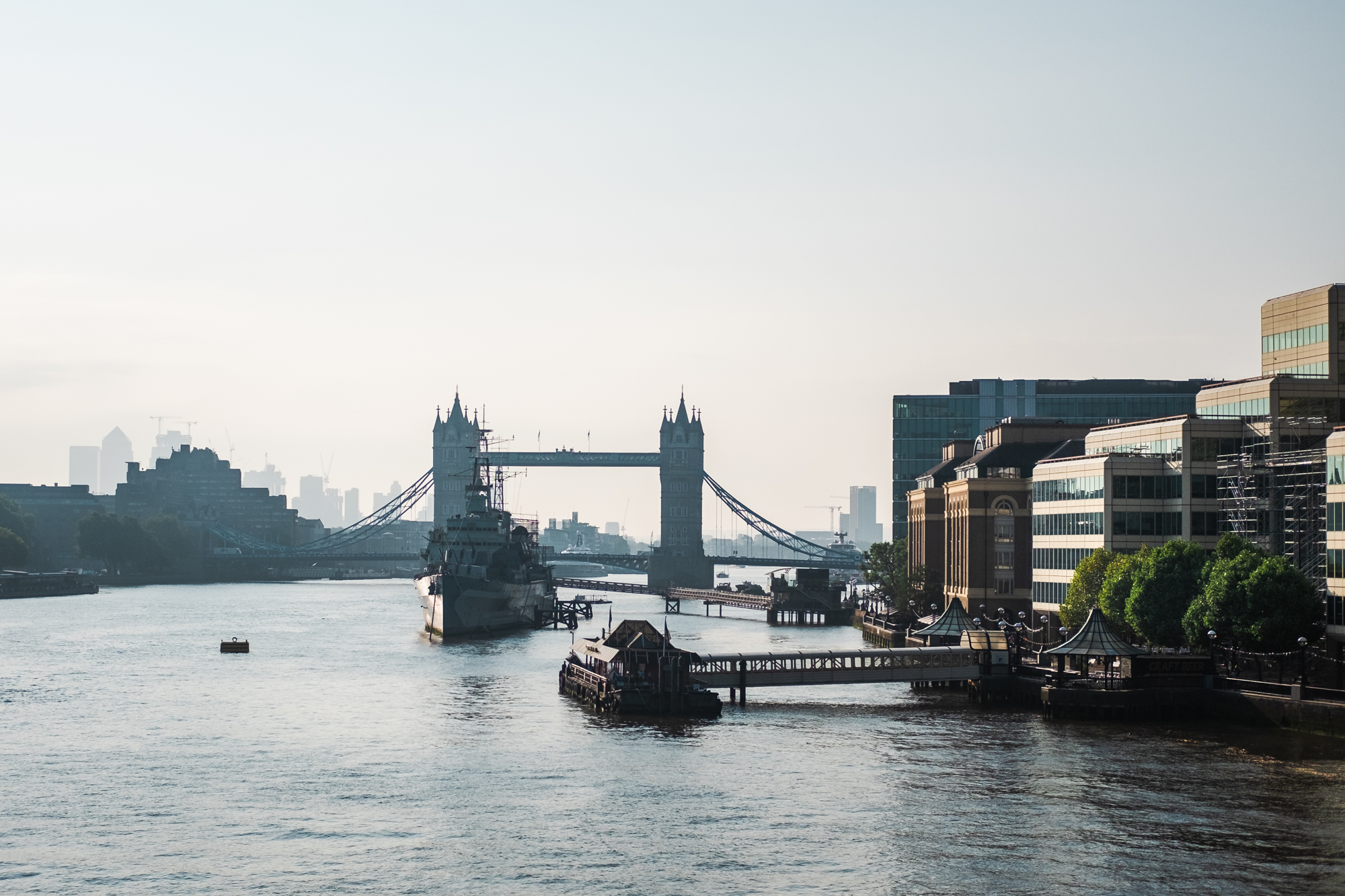 Cityscape photo of HMS Belfast and Tower Bridge in the morning, London by Trevor Sherwin