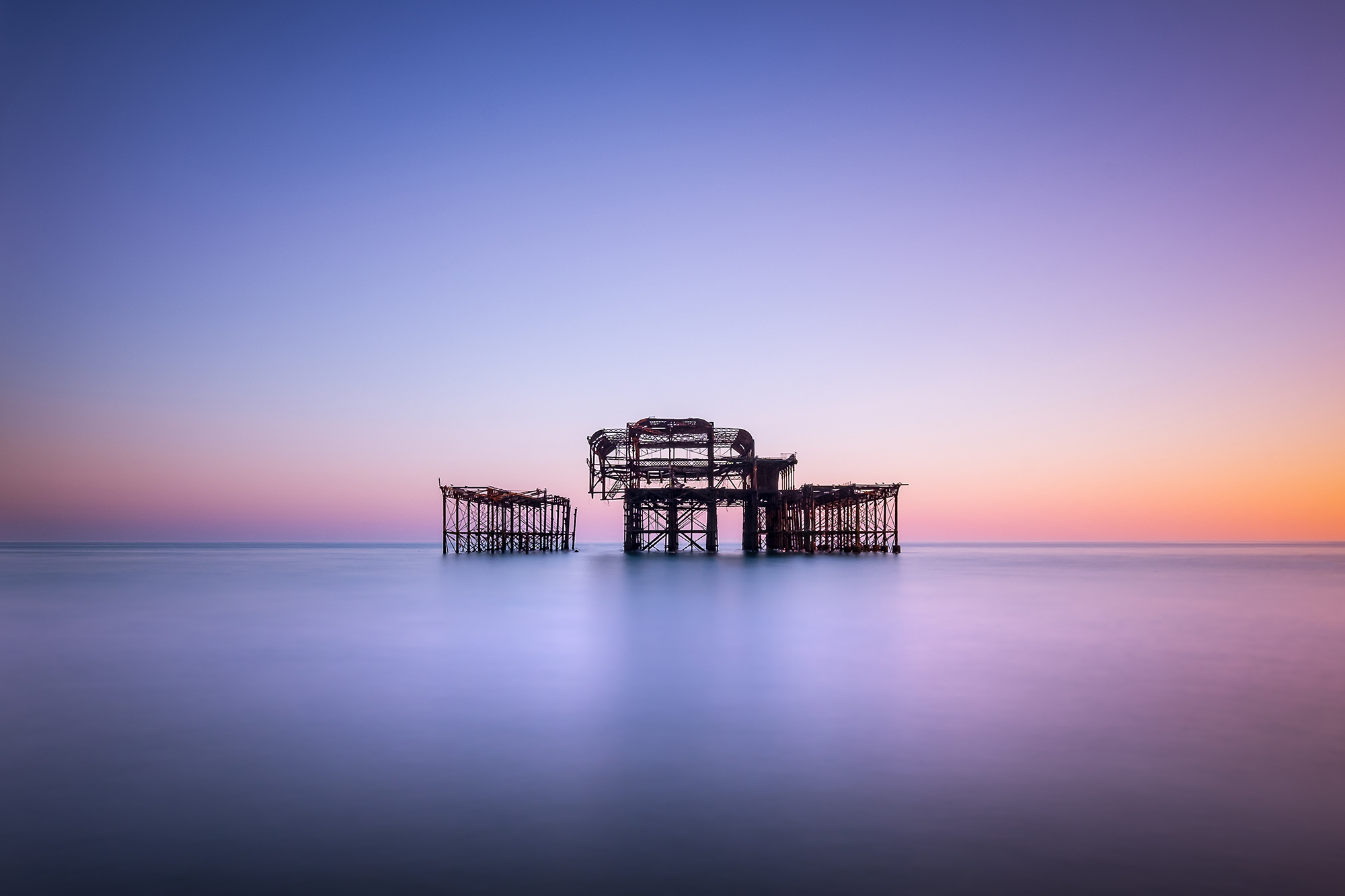 Long exposure photo of the West Pier, Brighton, England by Trevor Sherwin