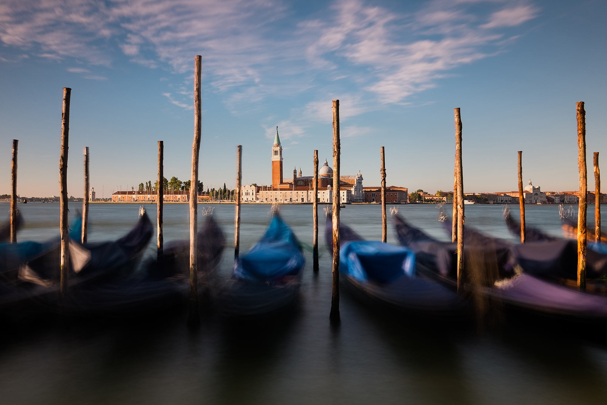 The gondolas in San Marco Basin, Venice, Italy by Trevor Sherwin