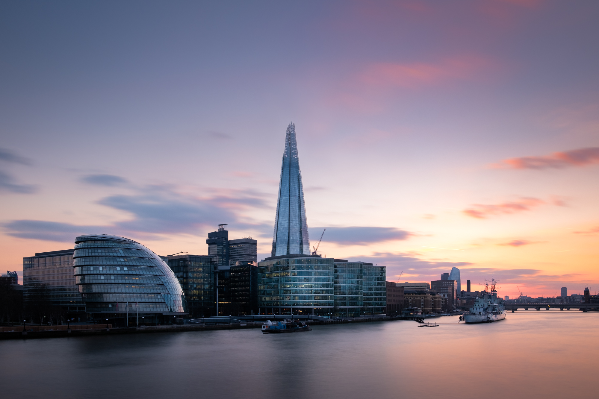 A long exposure of The Shard, London at sunset taken by Trevor Sherwin