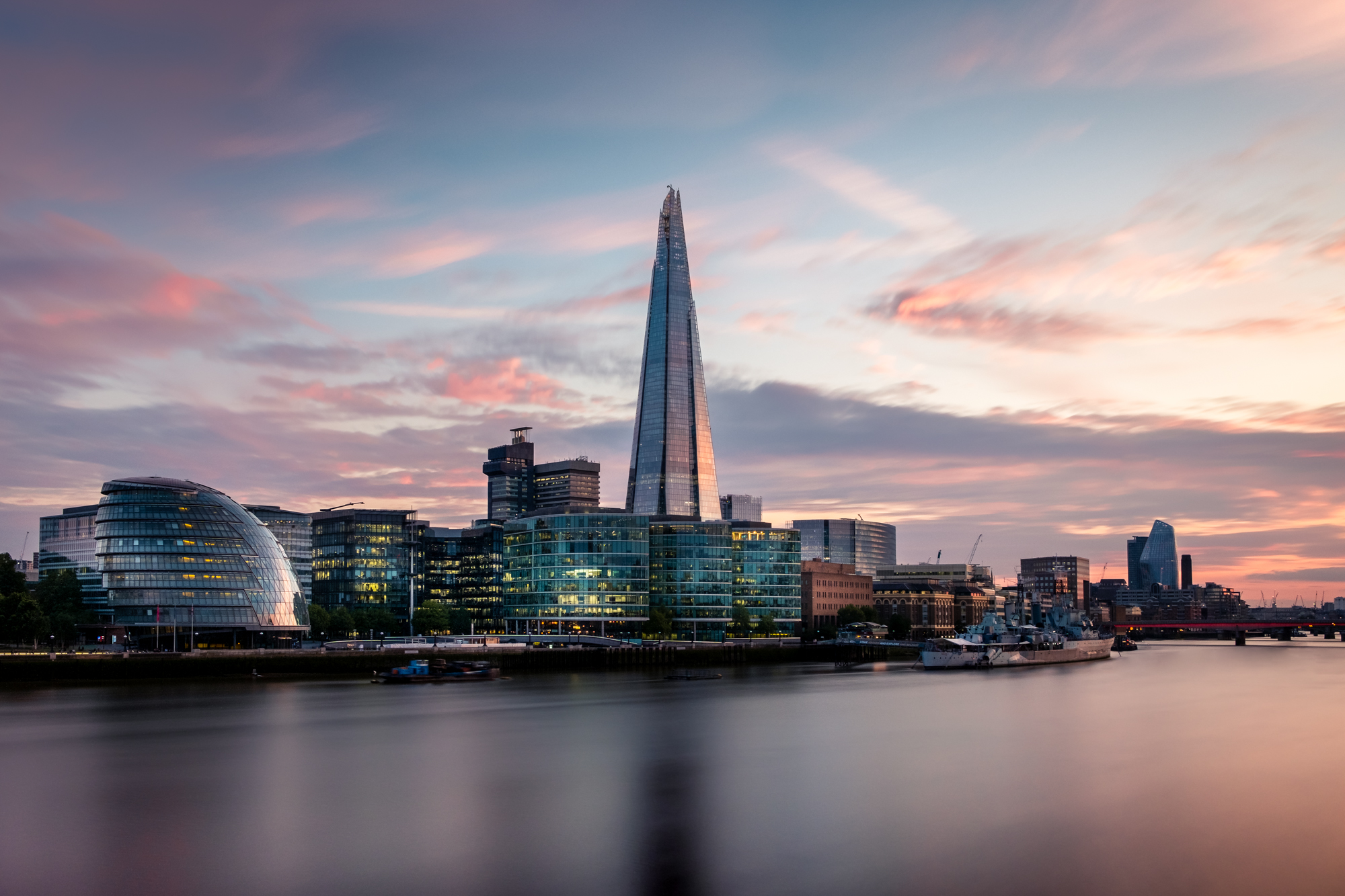 The Shard at Sunset | Fujifilm XT2 | XF18-55mm | 20mm | 131 seconds | f/10 | ISO200