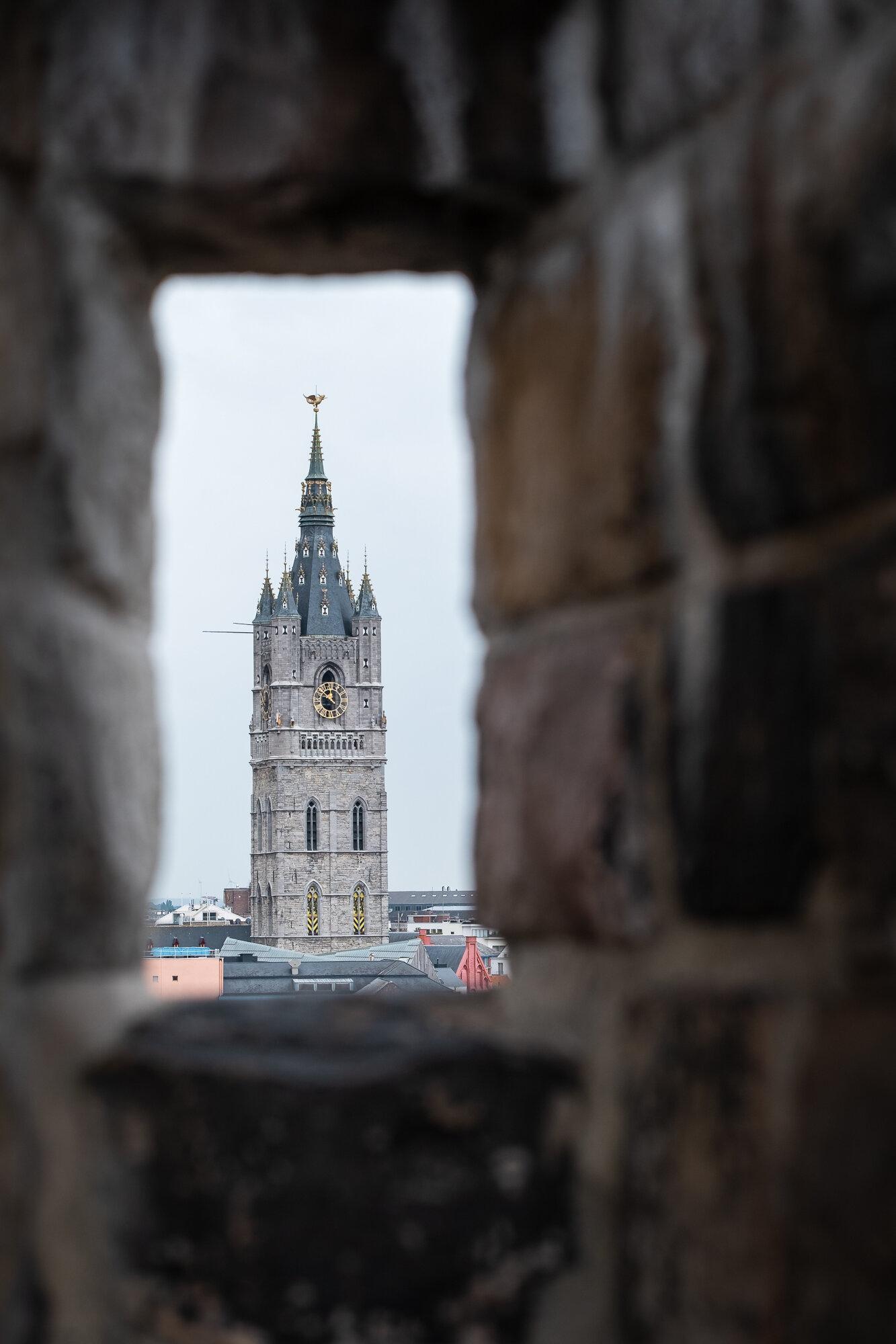 The Belfry of Ghent taken from Gravensteen Castle