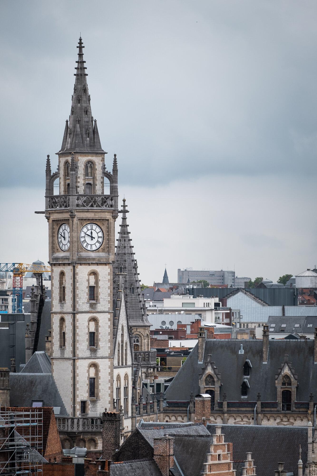 The Ghent Clock Tower taken from Gravensteen Castle