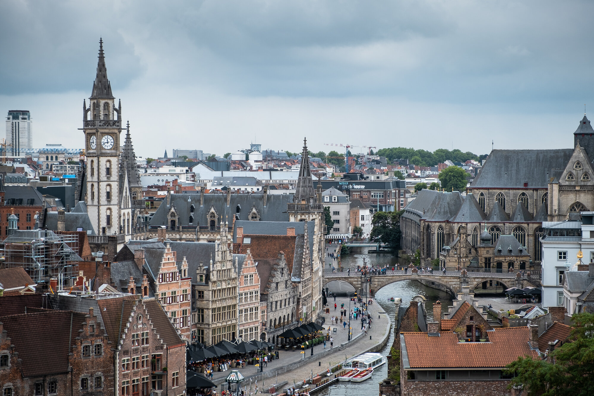 The Ghent skyline taken from Gravensteen Castle