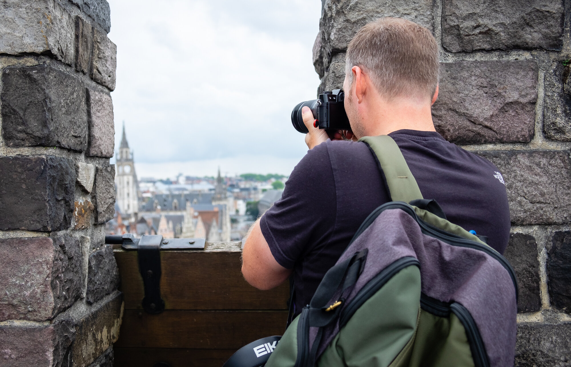Trevor Sherwin photographing Ghent from the Gravensteen Medieval Castle