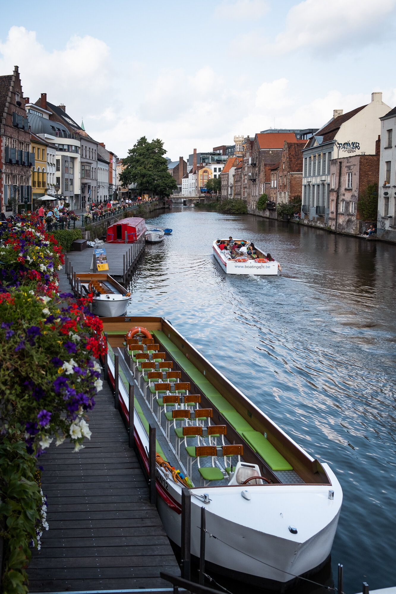 Tour boats along the River Leie