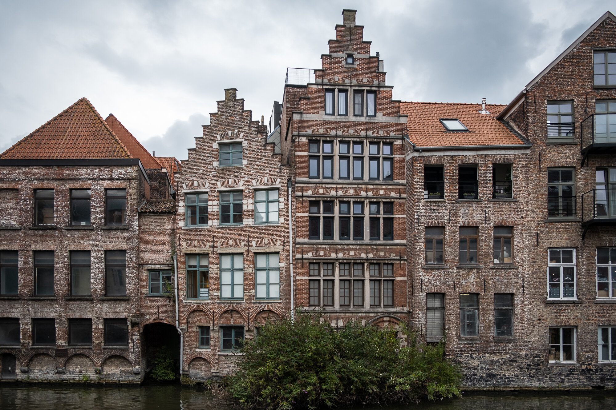 Buildings that line the River Leie