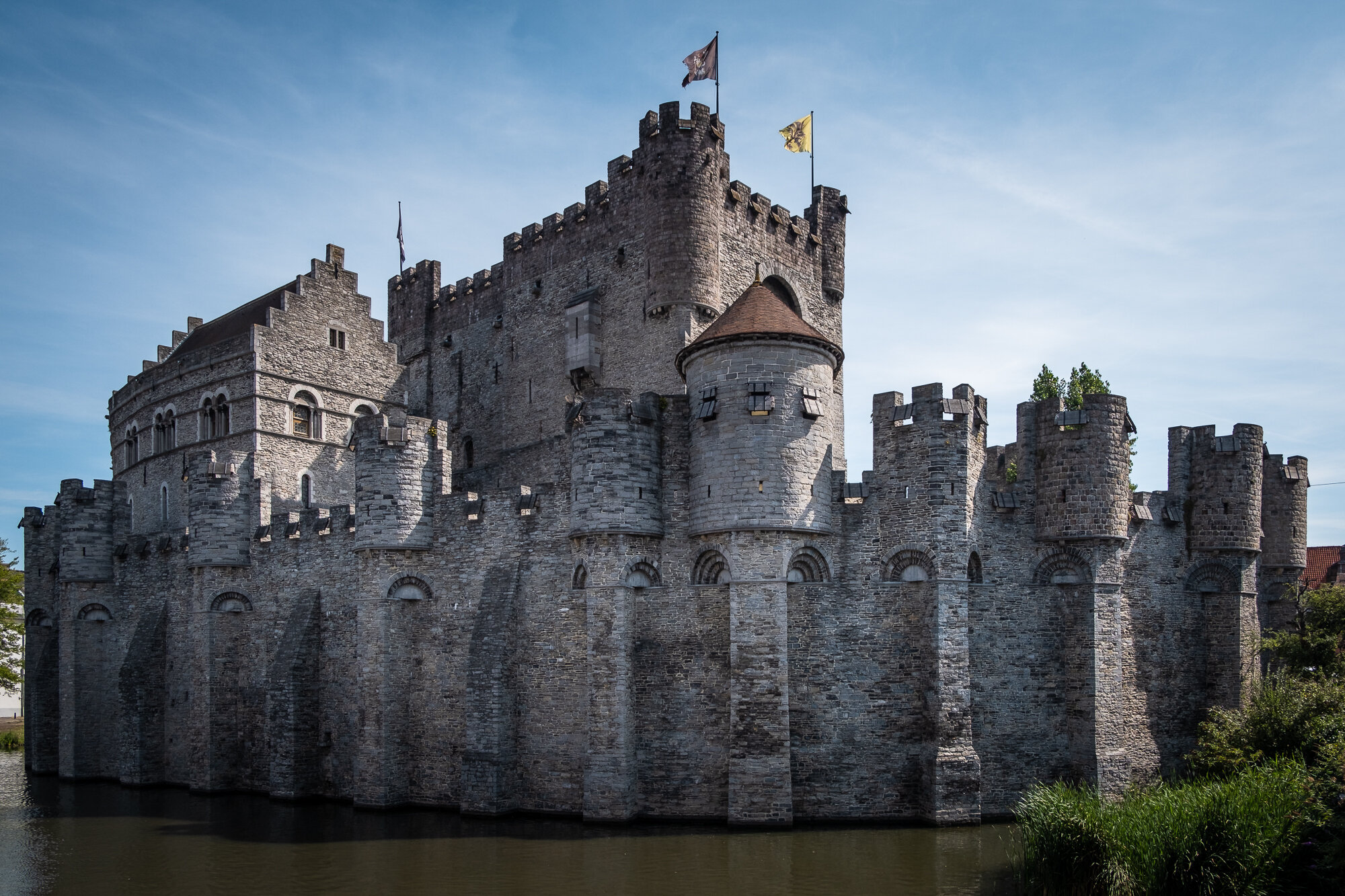 A view of Gravensteen Castle from River Leie