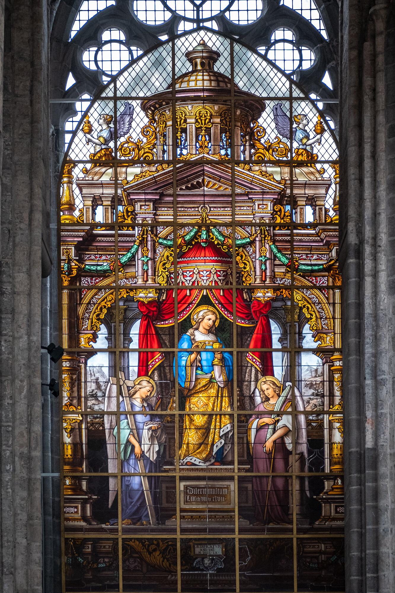 A stained glass window inside St. Nicholas' Church