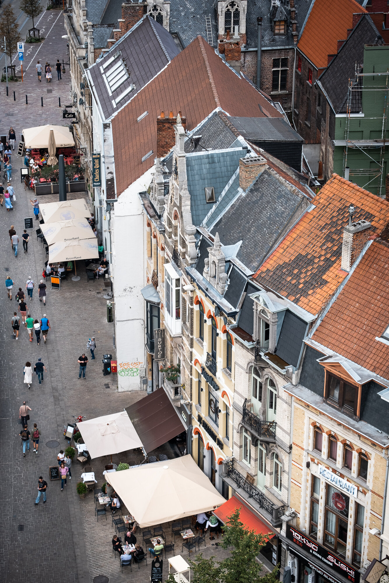 The view from atop the Belfry of Ghent