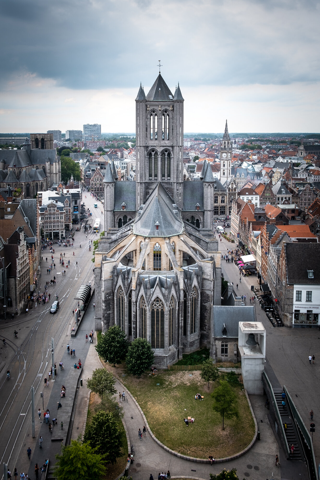 A view from the back of St. Nicholas' Church from the top of the Belfry of Ghent