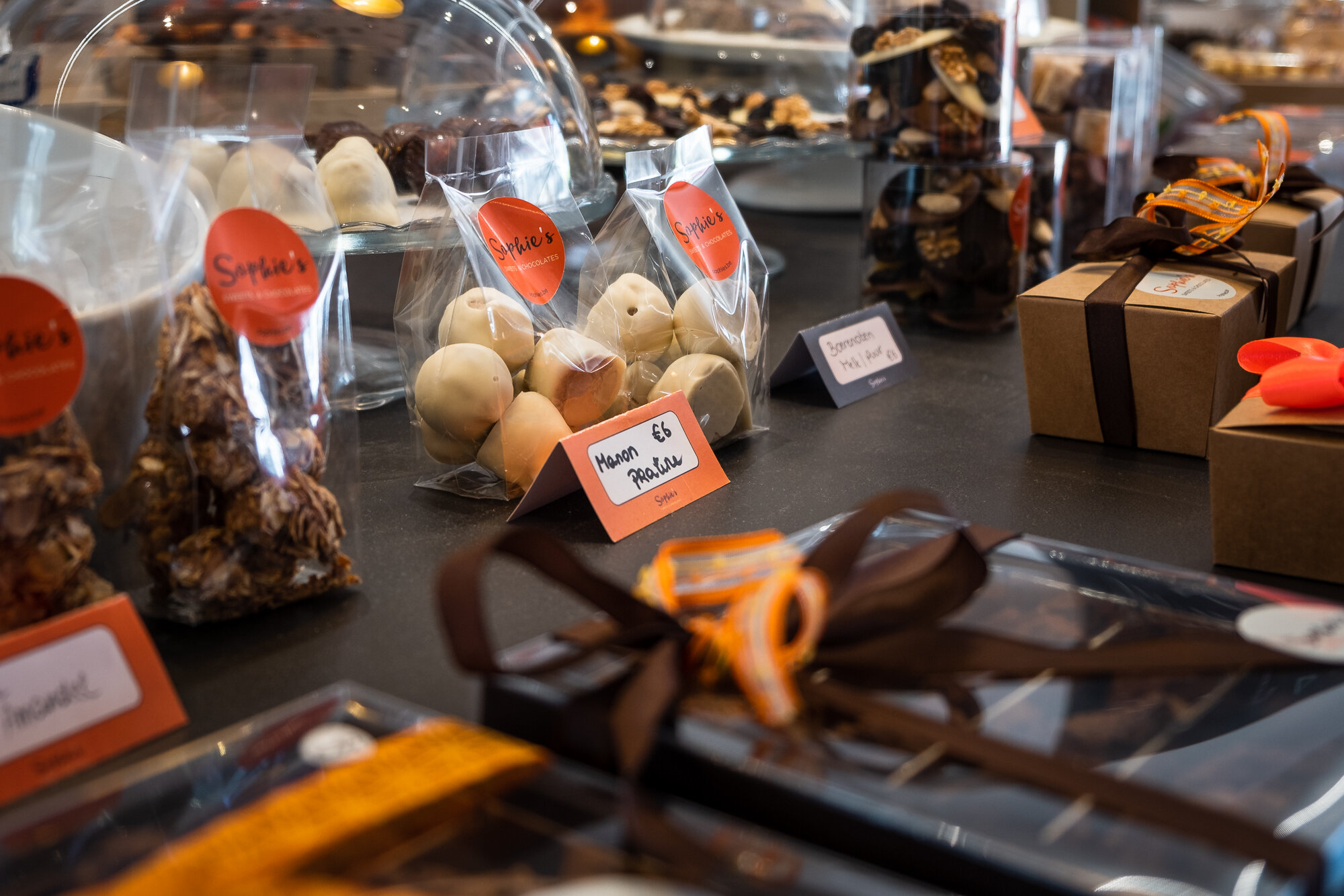 Chocolate on display in Ghent's chocolate shops