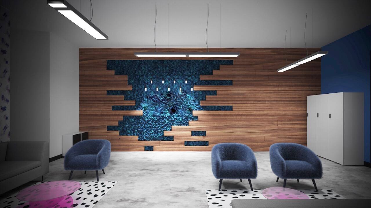 Rendering of reindeer moss wall for personal space commercial client