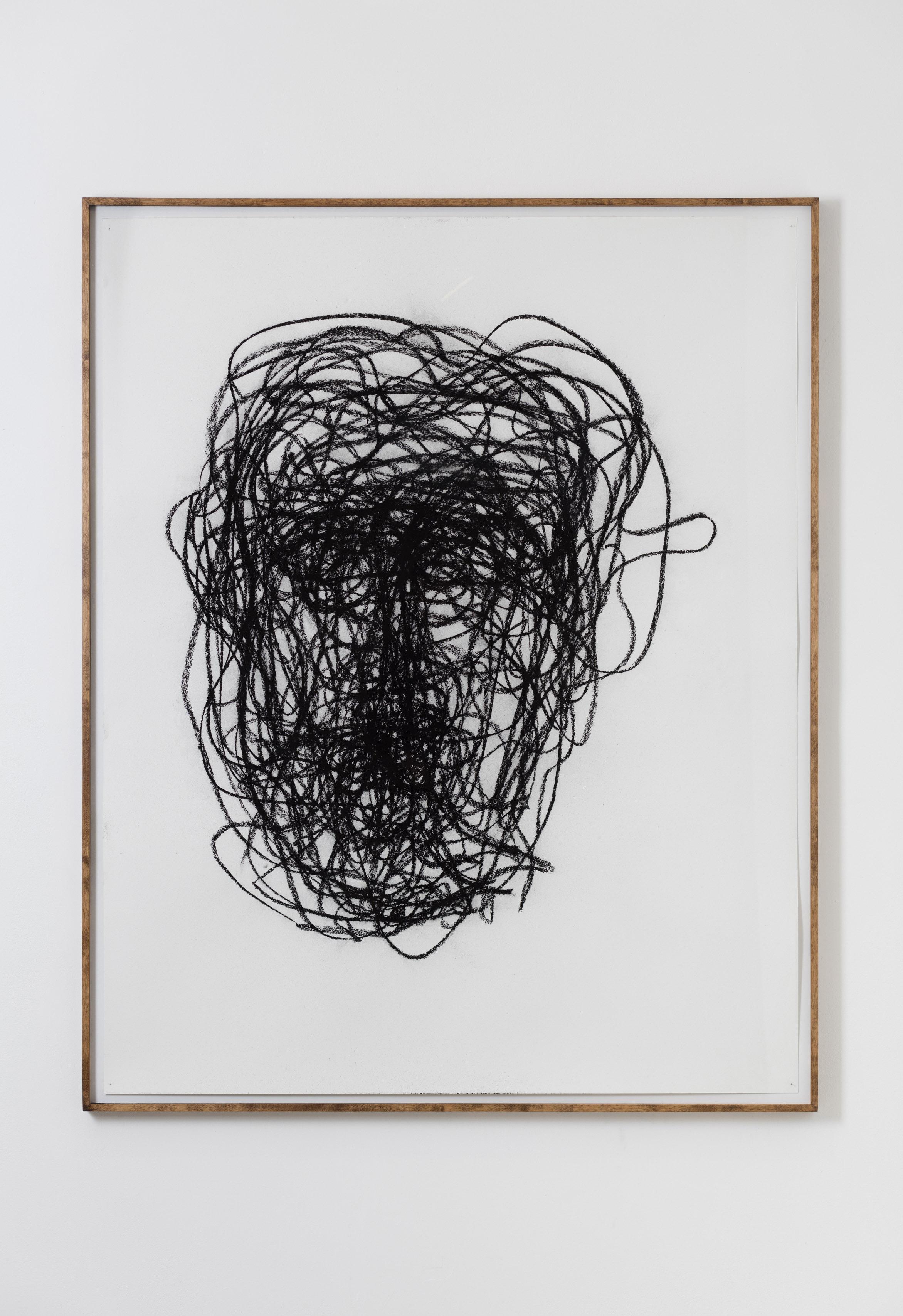 JocJonJosch Self Portrait, 1st August 2016, charcoal and paper, 2016