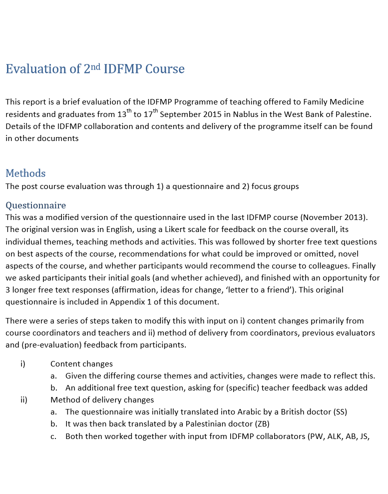 Evaluation of 2nd IDFMP