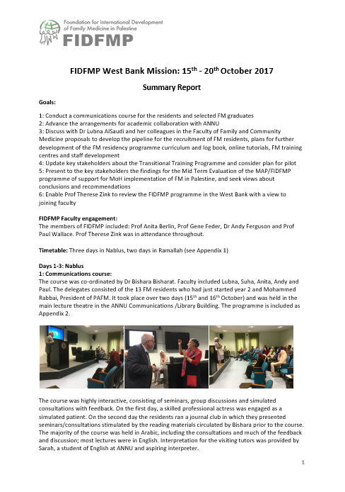 October 2017 Mission Report