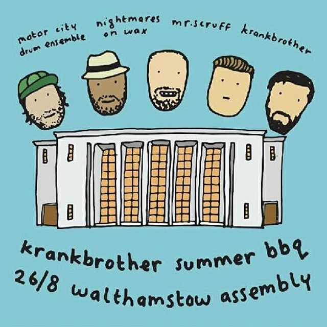 @_krankbrother_ @mrs_cruff @nightmaresonwax @motorcitydrumensemble Summer BBQ at Walthamstow Assembly Hall #walthamstow #WAH17
