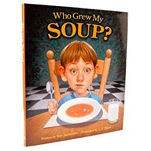 Who Grew My Soup - Last week we introduced a new series of posts with fun ways to learn about food and farming with your kids. Each week, we'll share another children's book that connects the dots from farm to fork.This week's book is Who Grew My Soup? by Tom Darbyshire and illustrated by C.F. Payne. The picture book tells the tale of a young boy who refuses to eat his soup until his mother tells him who grew the vegetables in the concoction before him. A man in a flying tomato balloon swoops up the boy to visit the farms of the folks who grew the vegetables — carrots, beans, barley and more — that he's about to eat.