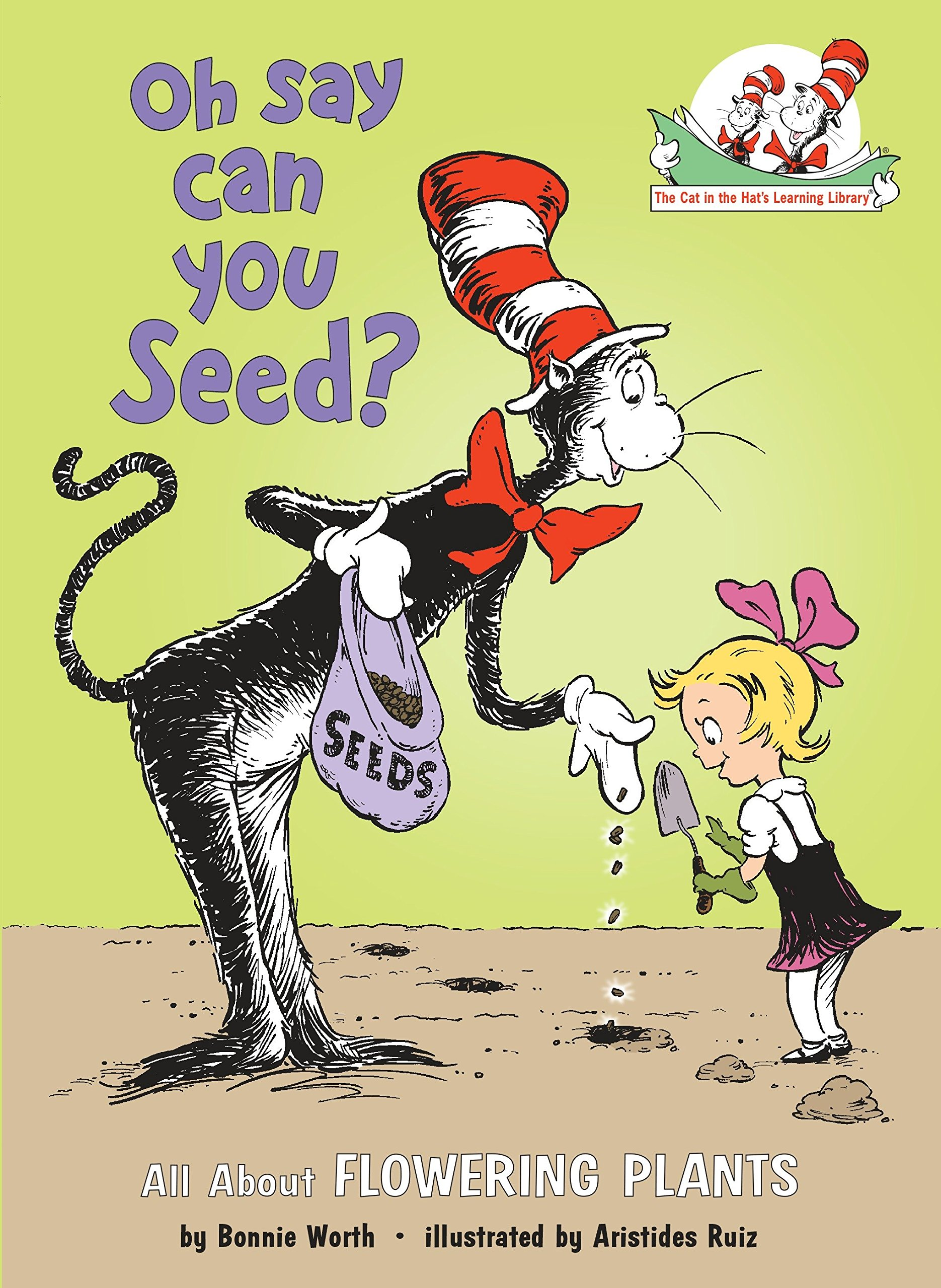 Oh Say Can You Seed - Looking for a fun way to learn about food and farming with your children? This is the first in our new series of posts sharing a list of children's booksthat will get you thinking about how food gets from the field to your table.Oh, Say Can You Seed? by Bonnie Worth is a picture book that tracks the seed to plant. Here's the scoop on the story from Amazon.com.With the able assistance of Thing 1 and Thing 2 — and a fleet of Rube Goldbergian vehicles — the Cat in the Hat examines the various parts of plants, seeds, and flowers; basic photosynthesis and pollination; and seed dispersal.