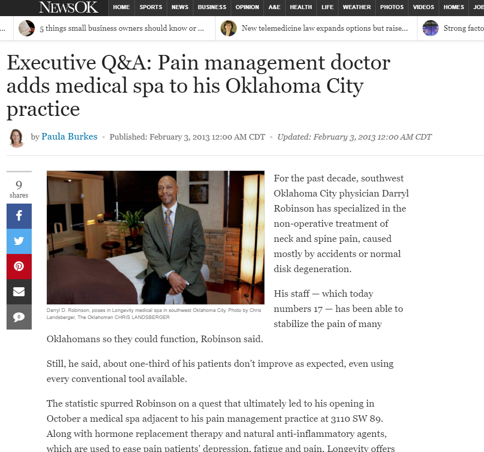 Pain Management Doctor Adds Medical Spa to His Oklahoma City Practice