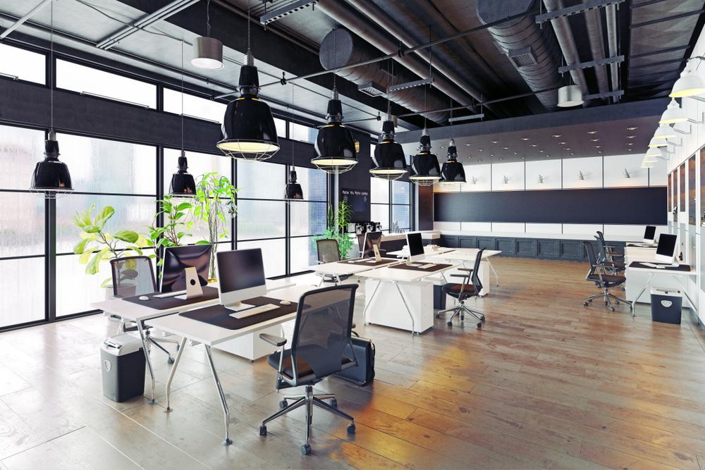 modern cozy loft office interior