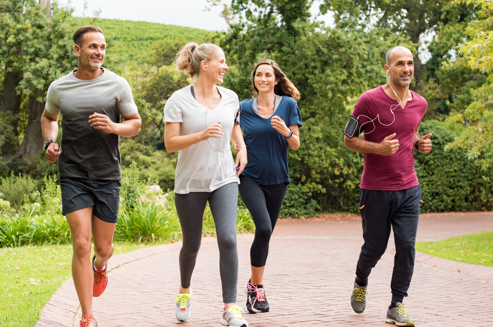 Healthy group of people jogging