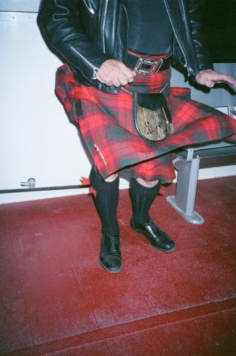 GORDON MOONEY'S CLAN MACNAB KILT CATCHING THE WIND ON THE TORONTO-ROCHESTER FERRY -