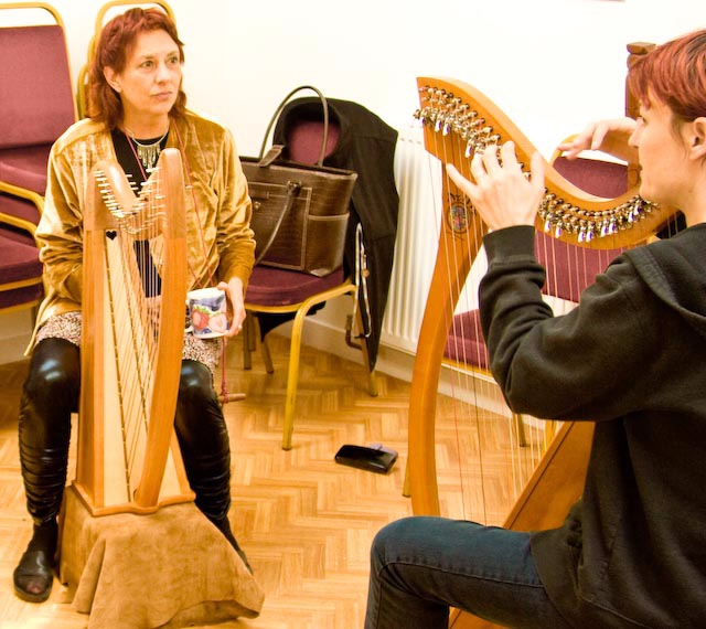 Nancy with master harper Caitriona Hewitt in Cromarty on the Black Isle - Caitriona is a creative genius on the Scottish harp, and a generous, inspiring teacher. I felt so lucky to have such quality time with her.
