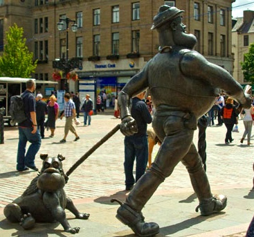 Dundee cartoon character man and dog