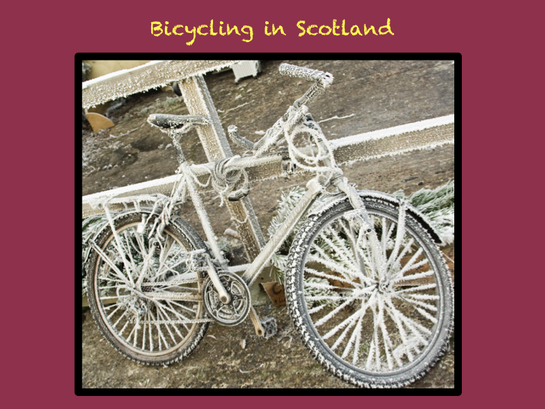 A frosty bicycle parked at Findhorn Eco Village - any need to lock it up?