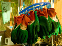 Findhorn gardening gloves hanging to dry