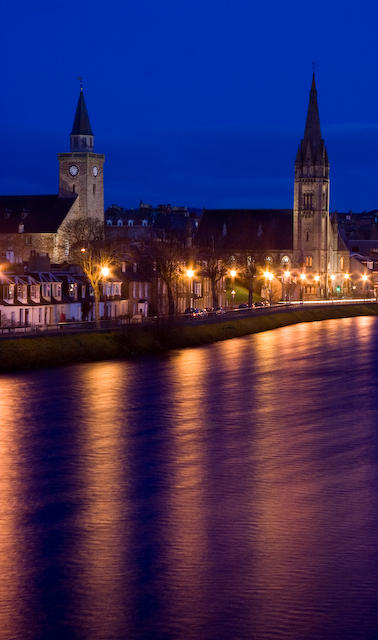 Inverness and Ness River by Night