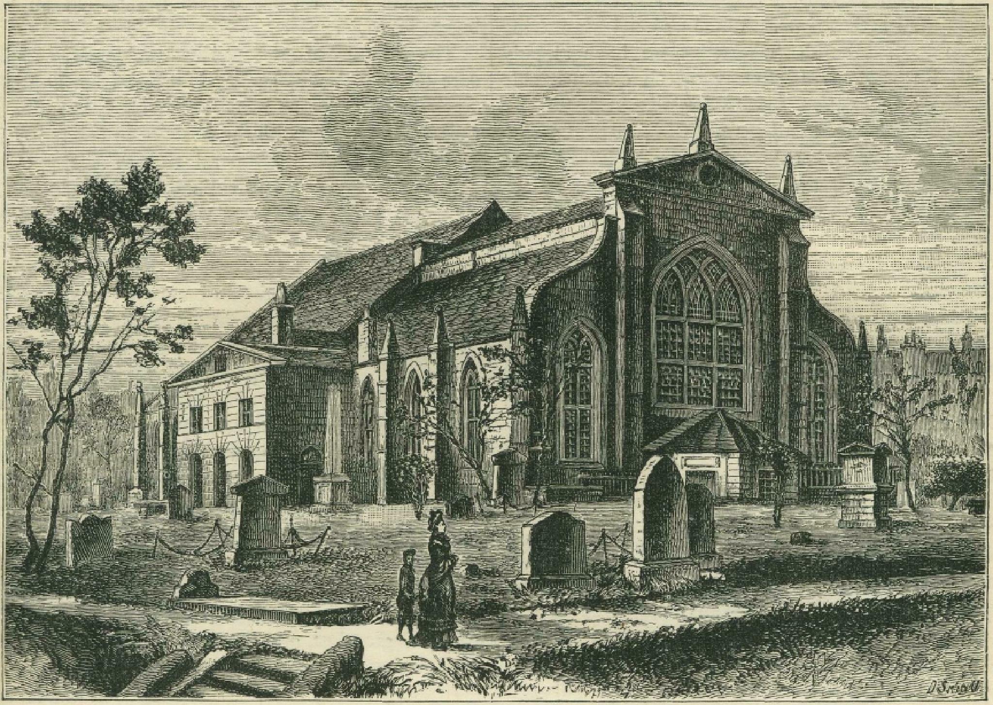 Old Greyfriars Church before Edinburgh built up aound it