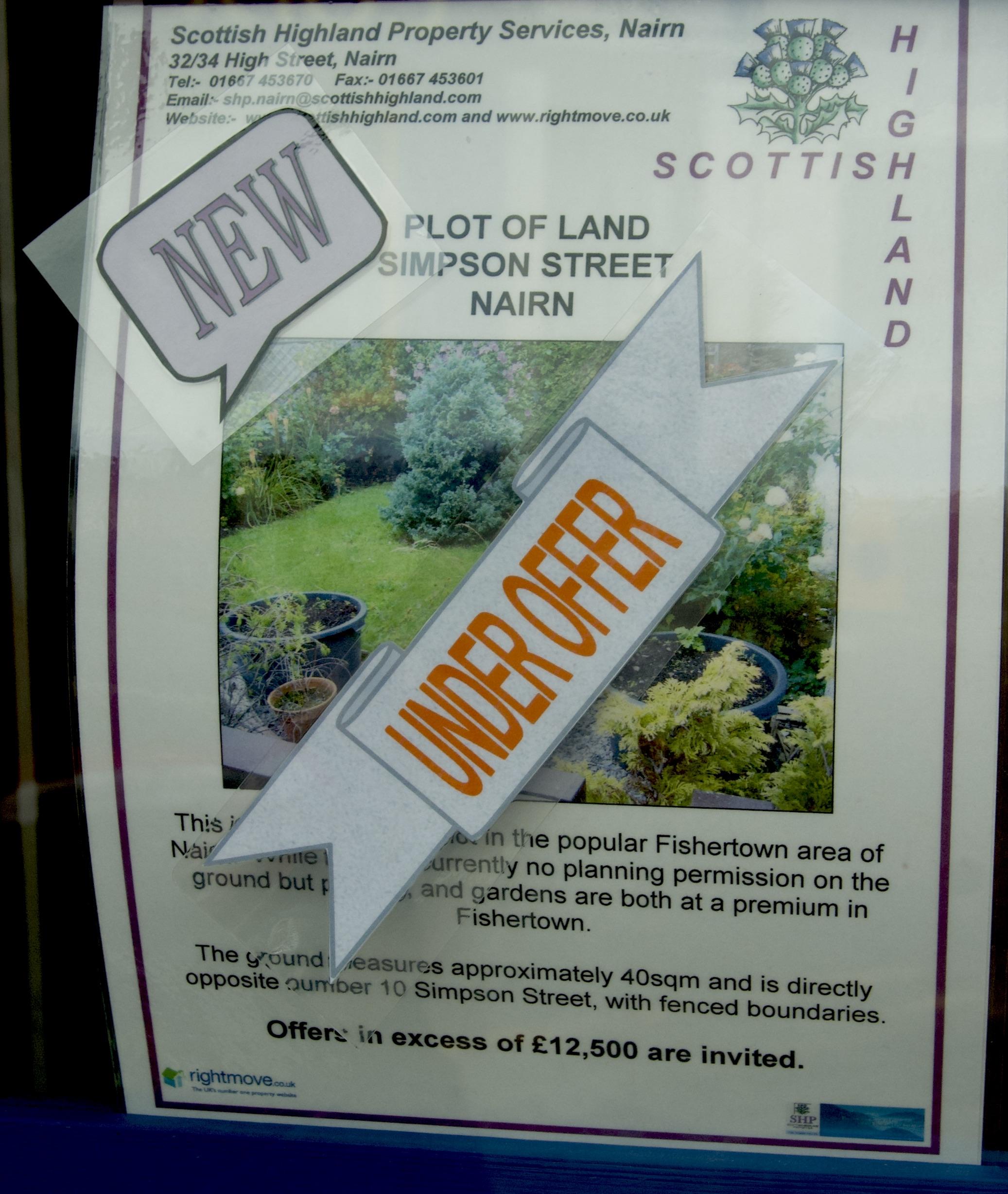 Nairn, Scotland: Car park plot under offer!