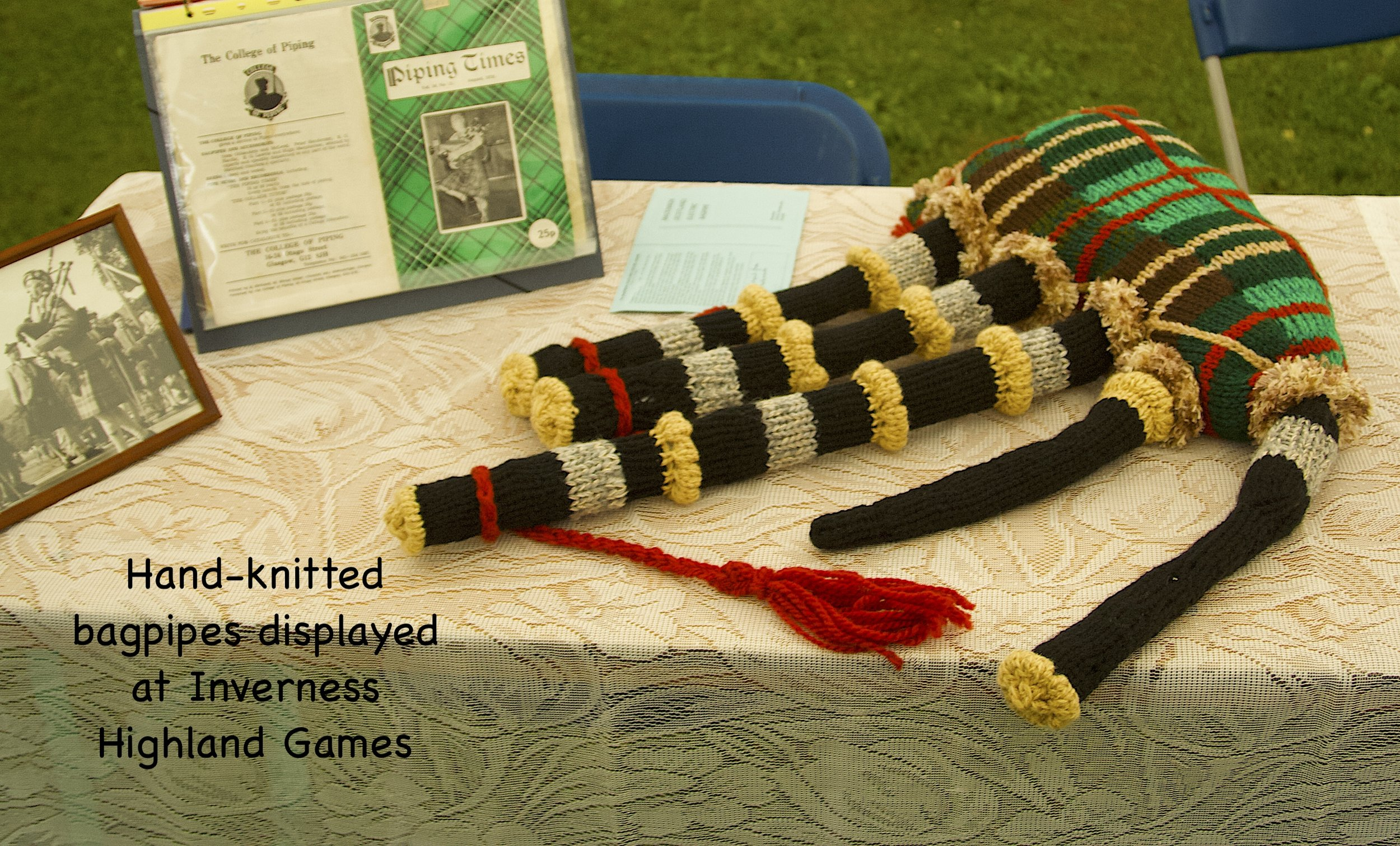 Hand-knitted bagppes at Inverness Highland Games.jpg