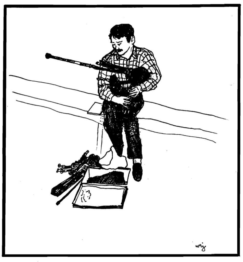 Gordon Mooney as sketched by W. Richmond Johnston, North Hero, Vermont, 1990
