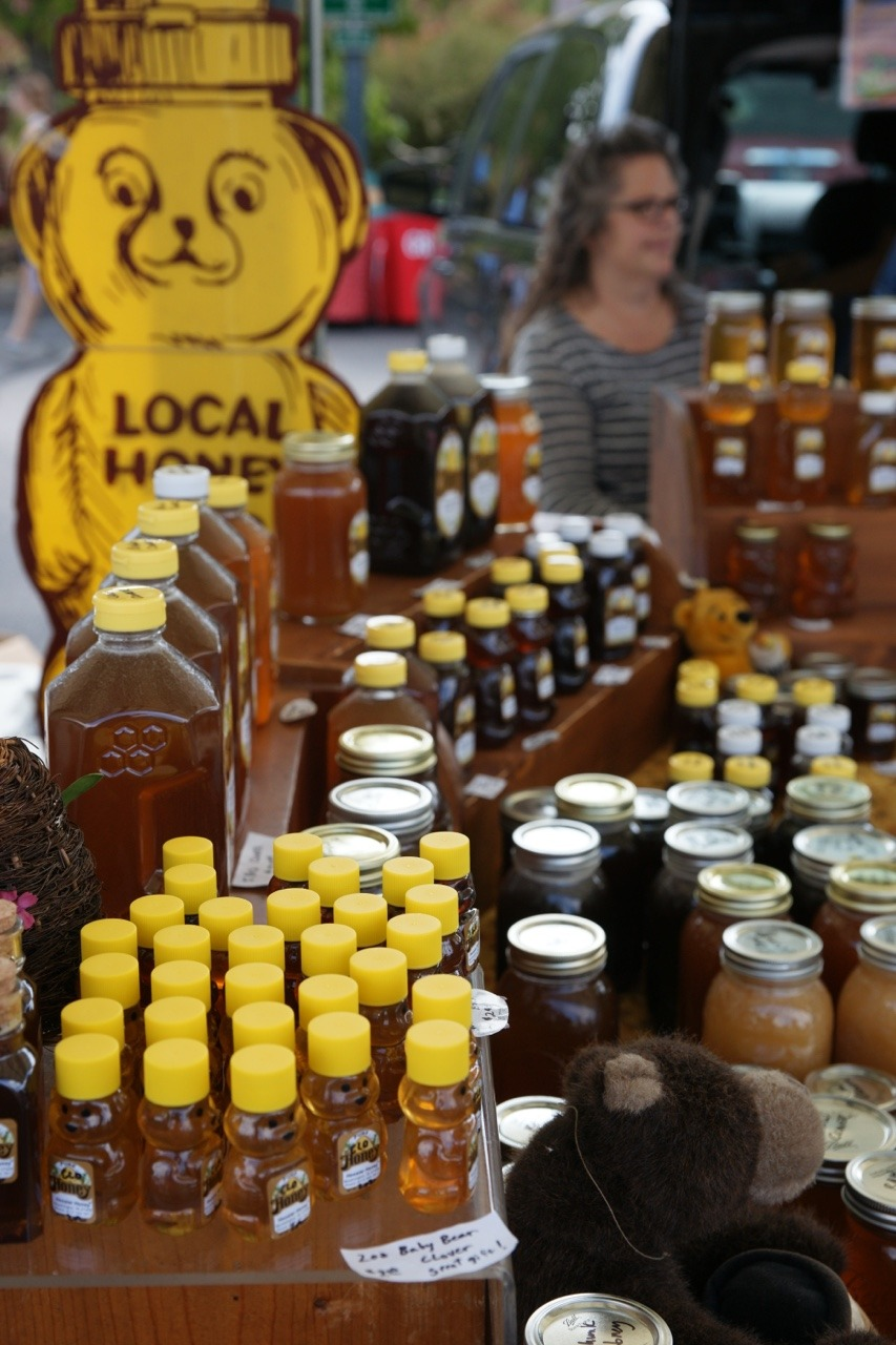 Honey sold at Bloomington, Indiana Farmers' Market, Fall 2017.