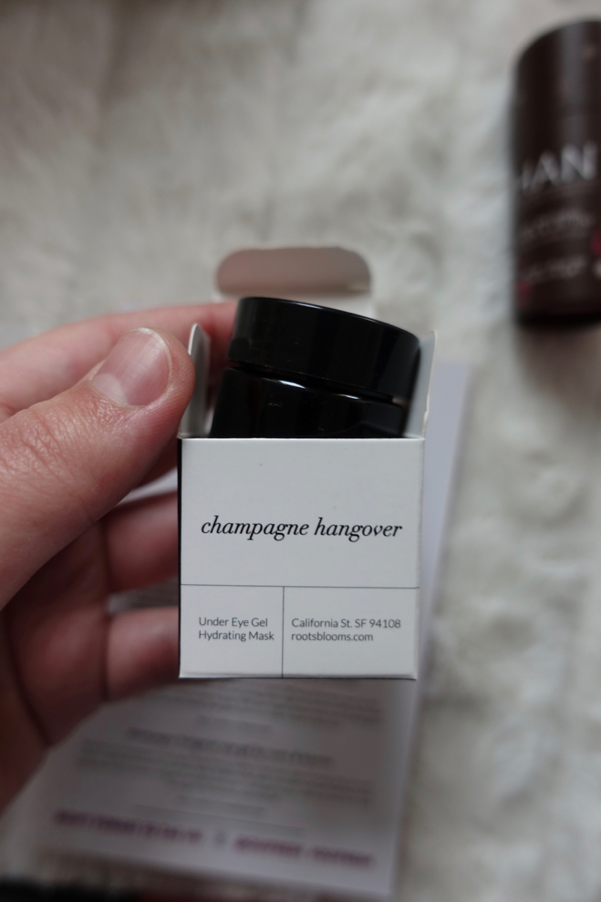 Roots & Blooms' Champagne Hangover Under Eye Gel Hydrating Mask.