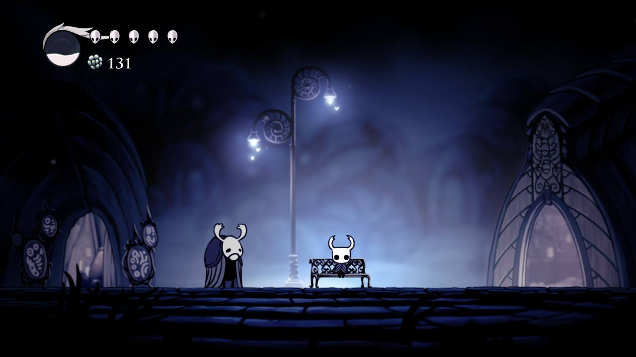 Hollow Knight. Starting position in Dirtmouth.