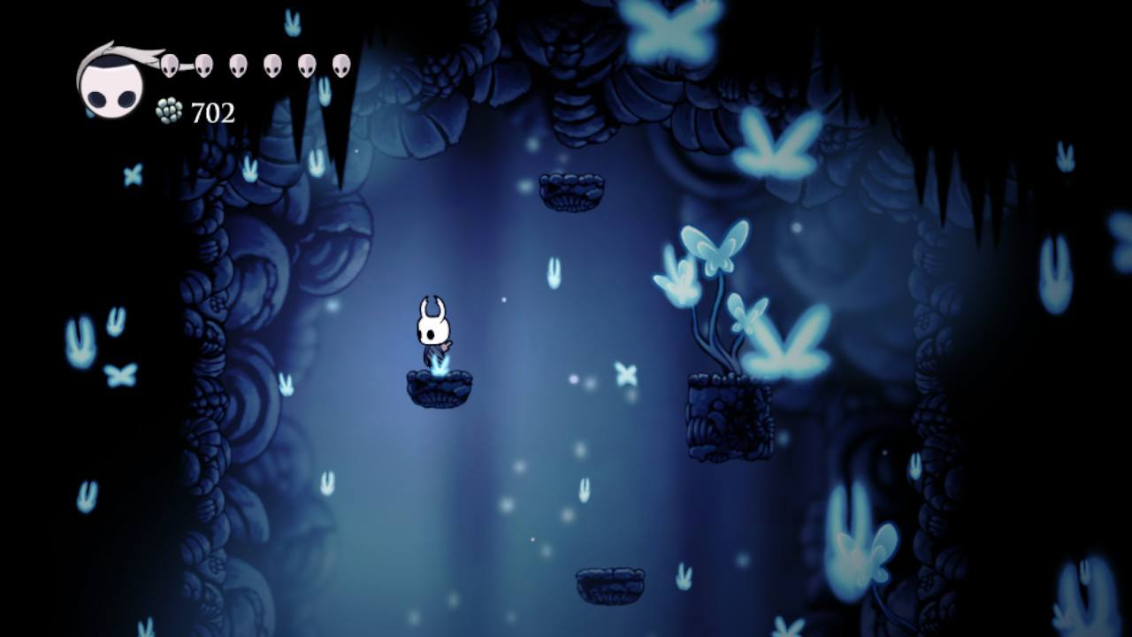 Hollow Knight. Joni's Repose in the Howling Cliffs. So pretty.