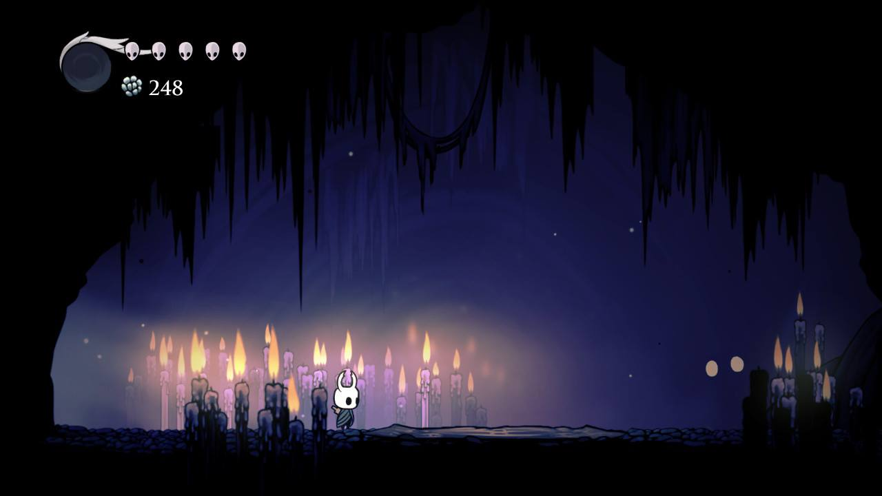 Hollow Knight. Jiji's Cave, Dirtmouth, where you can trade a rancid egg for your soul...if you can get back to Dirtmouth alive.