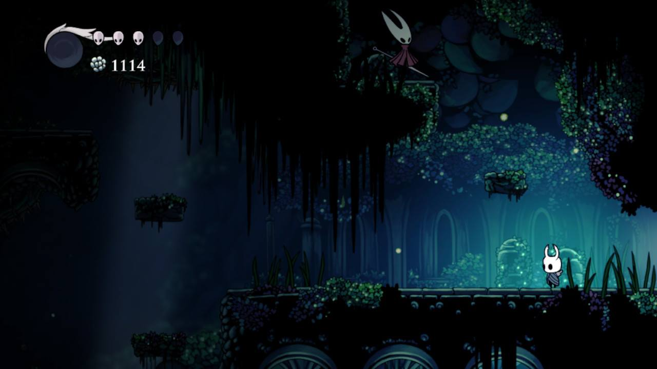 Hollow Knight. Chasing Needle in Greenpath.