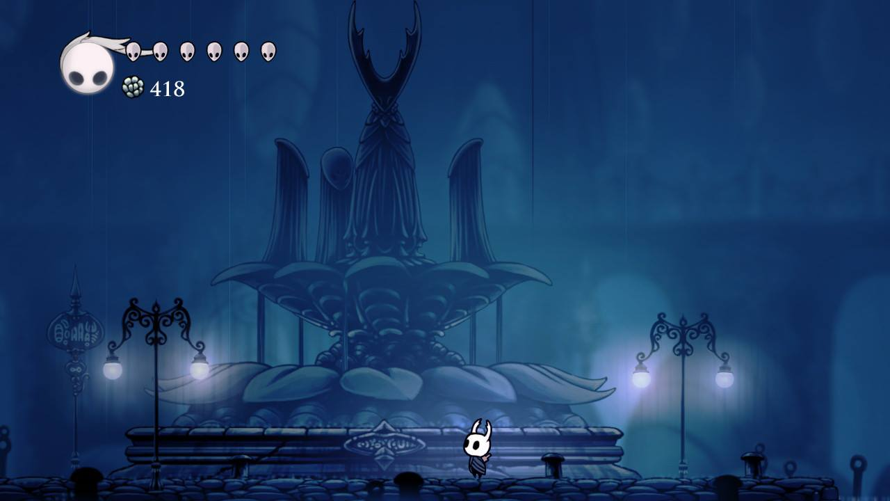 Hollow Knight. The Hollow Knight memorial statue in City of Tears.
