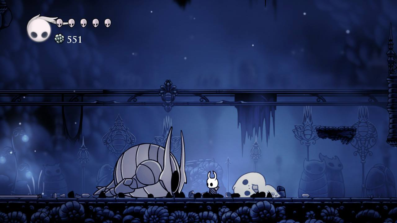 Hollow Knight. My protagonist after he beat his first boss, the False Knight in the Forgotten Crossroads.