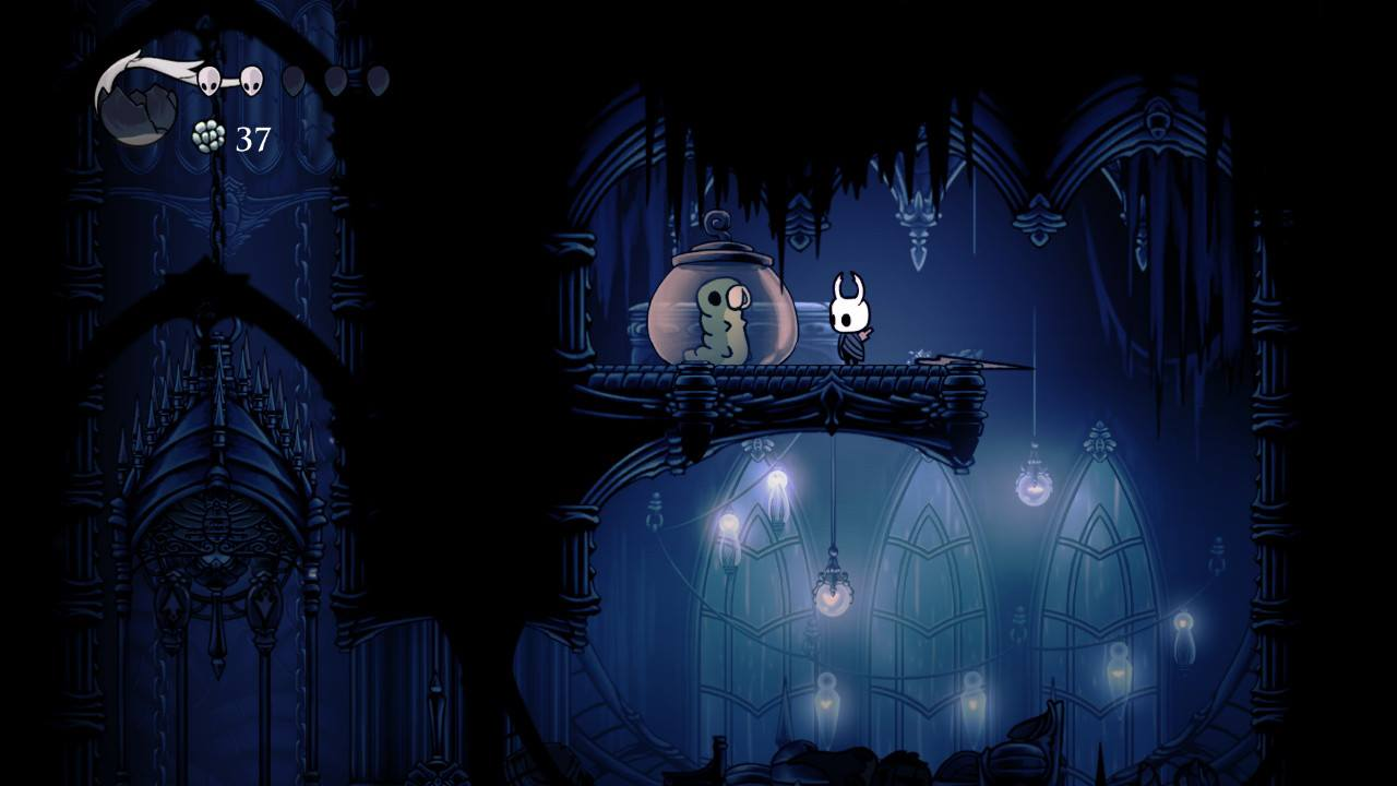 Hollow Knight. One of the trapped Grubs in the City of Tears. Aren't they so cute?