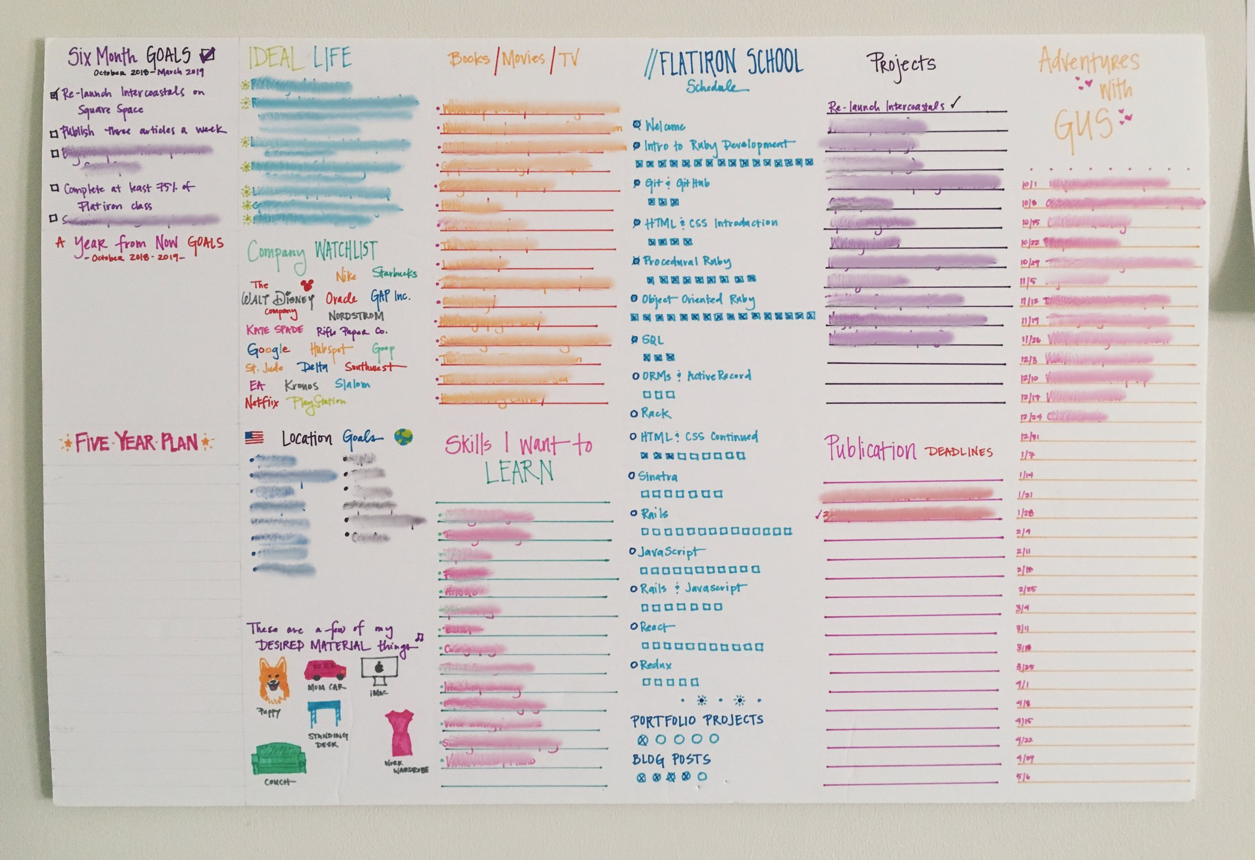 """My goal board for this year. When my mother-in-law first saw it she said, """"That's a lot of goals."""" Yes, yes it is."""