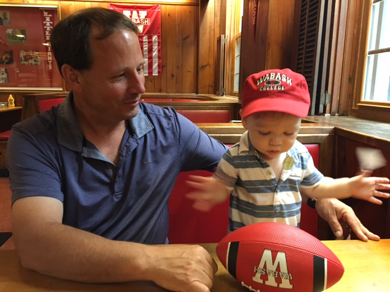 Gus usually returns with more Wabash gear after a day with Nana and Pop Pop.